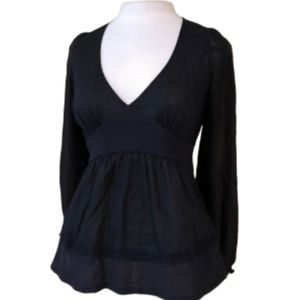 ANTHROPOLOGIE ODILLE Black Silk Blouse Size 4